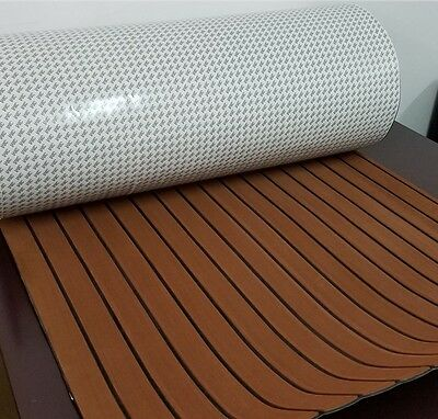 Marine Flooring Faux Teak EVA Foam Boat Decking Sheet 3M Self-Adhesive - Brown