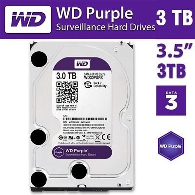 "Western Digital WD 3TB Purple Surveillance HDD 3.5"" SATA 6GB Internal Hard Drive"