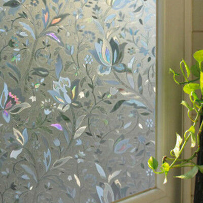 Static Cling Frosted Floral Glass Window Door Sticker Film Privacy Home Decor