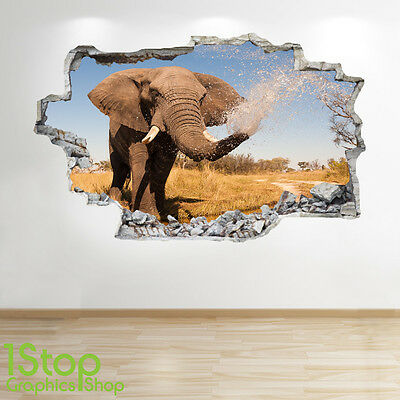 ELEPHANT TEMPLE WALL STICKER 3D LOOK BEDROOM LOUNGE NATURE ANIMAL DECAL Z190