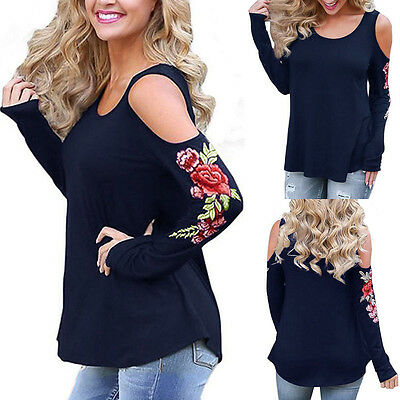USA Womens Ladies Casual Long Sleeve T Shirt Embroidery Loose Tops Blouse Summer
