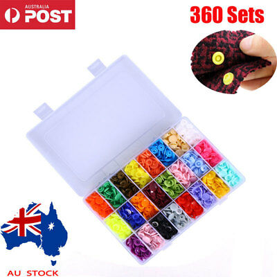 360 Sets KAM Snap Kits Size 20 T5 Plastic Snaps Fastener Buttons Press Stud AU