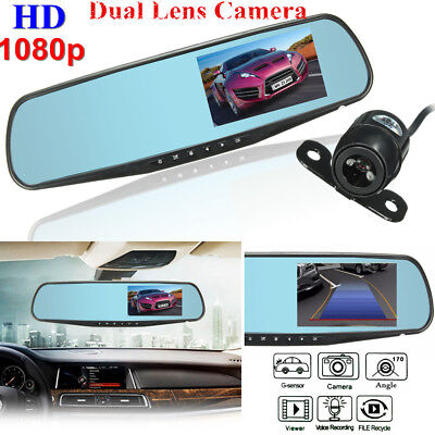 4.3'' HD 1080P Monitor Dual Len In-Car Reversing Camera Cam DVR Rear View Mirror