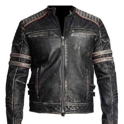 Men's Vintage Cafe Racer Black Distressed Retro Motorcycle Real Leather Jacket