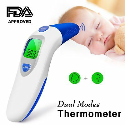 Dual Mode Forehead Thermometer, ideske Digital Display,Contactless  Ear