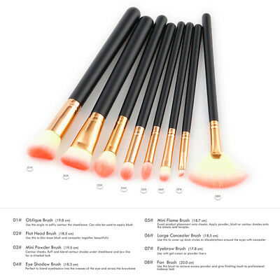 8 PCS Pro Makeup Brushes Set Foundation Powder Eyeshadow Eyeliner Lip Brush Tool