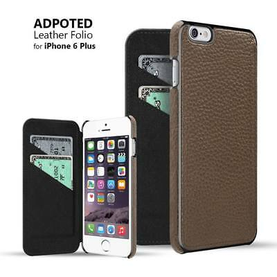 iPhone 6/6s PLUS Series LEATHER Flip Case Wallet 2 CC Slots RED BROWN Retail Box