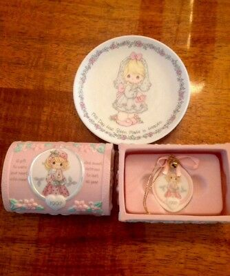 Precious Moments 1997 Porcelain Small Treasure Box Hope Chest And Small Plate