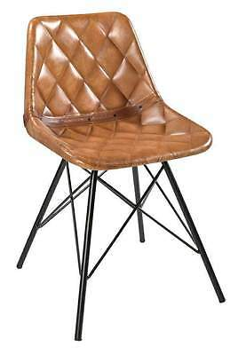 Industrial Vintage Style Dining Chair Indian Leather Chair Metal Furniture