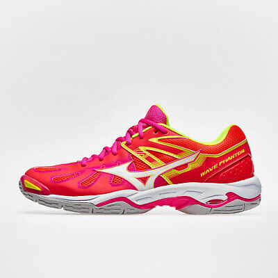 Mizuno Womens Wave Phantom Netball Trainers Sports Shoes Red