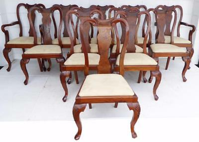 Set of 12 Queen Anne Style Walnut Dining Chairs