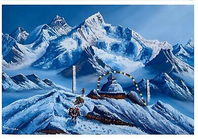 "MOUNT FISHTAIL MACHHAPUCHHRE NEPAL ORIGINAL ACRYLIC PAINTING ON CANVAS 11"" x 15"""
