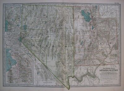 Original 1897 Post Routes Railroad Map NEVADA UTAH Lake Tahoe Provo Silver City