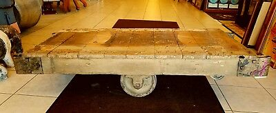One STEAMPUNK Coffee TABLE Wood IRON INDUSTRIAL Railroad FACTORY CART