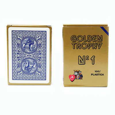 Modiano Golden Trophy Italian Poker Cards Game Deck 100% Plastic red / blue