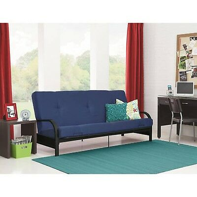 Mainstays Black Metal Arm Futon With Full Size Mattress Multiple Colors Blue N