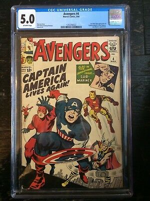 Avengers #4 - CGC 5.0 - 1st Appeareance Silver Age Captain America - Sub-Mariner