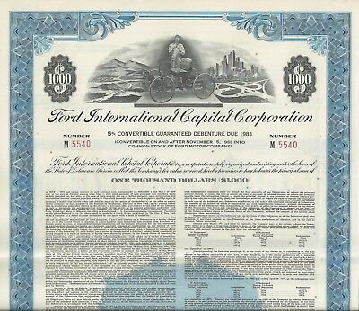 Ford International Capital Corporation, 1968, 5% Debenture due 1983 (1.000 $)