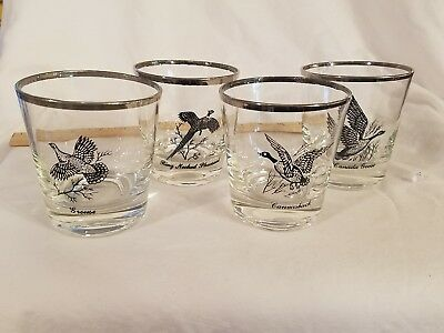 4 Vtg Richard Bishop Game Bird Silver Rimmed Perfectr MCM Rocks Glasses AWESOME!
