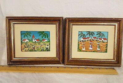Flor Naive Art Original Painting Primitive Agriculture Pair Of Awesome Oils Nice