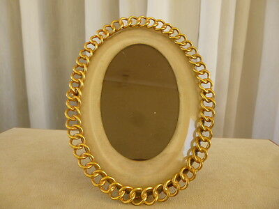 Antique 19C Victorian Oval Art Nouveau Gilded Bronze French Picture Photo Frame