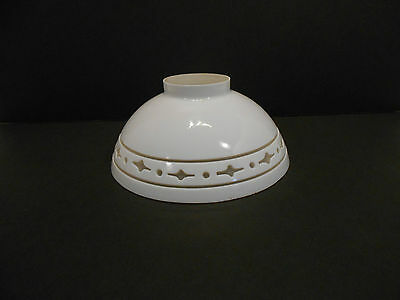 Vintage White Glass Light Shade Frosted Cut Out Border Lamp Pendant
