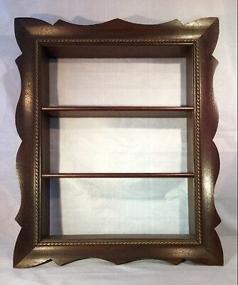 Vintage 3 Shelf Scalloped Style Wood Curio Wall Hanging