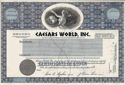Caesars World Inc., Florida, 1982  (21.768 Shares) !!