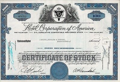 Hotel Corporation of America, 1959  (100 Shares, 5% Cum. Conv. Preferred Stock)