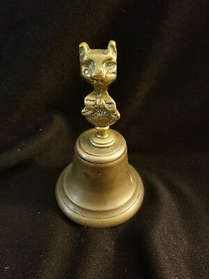 Antique Brass And Bronze Rare Cheshire Cat Bell