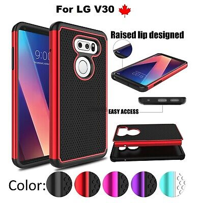 For LG V30 ( LGH933) Hybrid Rubber Dual Layer Impact Shockproof hard Case Cover