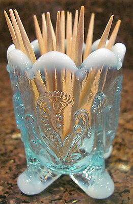 Toothpick Holder - Inverted Fan & Feather - Blue Opalescent Glass - USA
