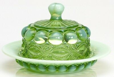 Butterdish - Eyewinker - Green Opalescent Glass - Mosser USA