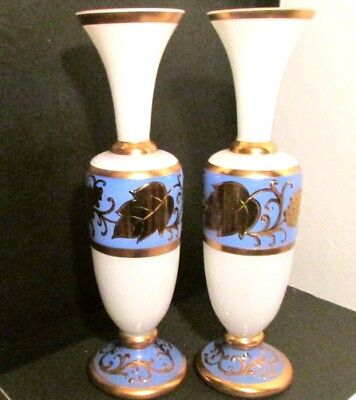 Pair Beautiful Old French Italian Opaline Gold Decorated Glass Empire Vases