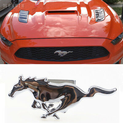 Metal Chrome Running Horse Front Head Hood Grille Emblem Badge For Ford Mustang