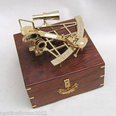 "Huge Brass Sextant 10"" Wooden Case Nautical Maritime Astrolabe Ship Decor"
