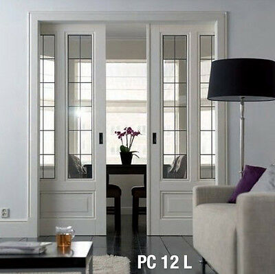 Pocket Doors interior Genuine Leaded  Glass Panels Raised bottom panel