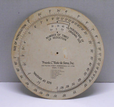 "Frank C. Toole & Sons 12"" Print Size Reduction Reproduction Circular Calculator"