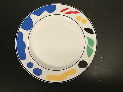 Block Spal - Splash - Salad Plates - FOUR - 4 - Blue Black Yellow Red Green - 8""
