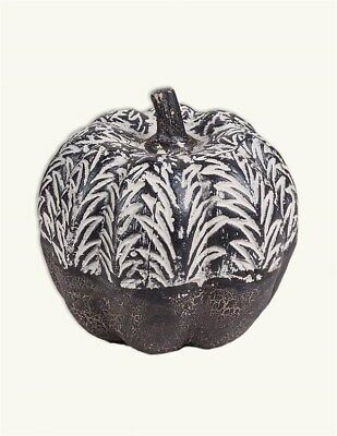 Victorian Trading Co Black White French Carved Gourd Pumpkin Small