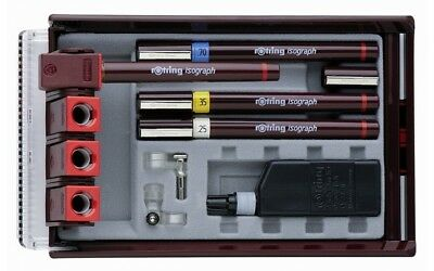 100%Genuine New Rotring Isograph 4 Pen Master Set-0.25,0.35,0.50,0.70mm RRP £100