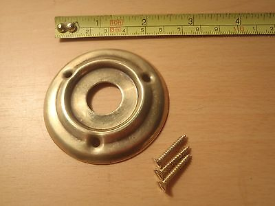 A 60 mm DIAMETER  PRESSED BRASS DOOR KNOB ROSE / BACK PLATE AGED FINISH RIM LOCK