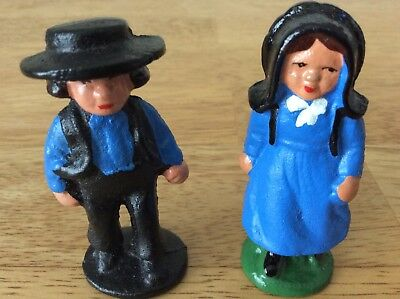 Vintage AMISH Man and Woman in Traditional Attire Painted Cast Iron NIB