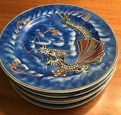 Vintage Japan China Dragon Ware 6 dessert Plates-made in occupied Japan
