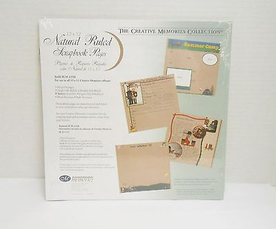 """Creative Memories 12"""" x 12"""" Natural Ruled Refill RCM-12NR 5 Sheets/10 Pages NIP"""