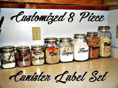 Customized 8 pcs Canister Label Decal Sticker set Pantry Kitchen Cook Spice