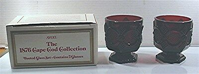 1988 Avon 1876 Cape Cod Ruby Red 2 Footed Glasses W/ Box