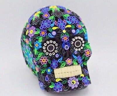 Artist Signed Quilling 3D Skull Bright Purple Accents w/ Design Day of the Dead