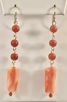 Vintage Untreated/ Undyed Red & Pink Coral Dangle Earrings Solid 14kt Gold, New