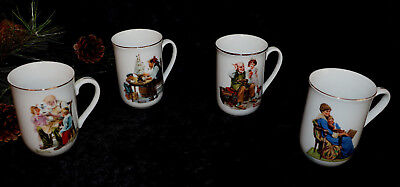 Vintage Norman Rockwell Coffee Cups Mugs Set of 4 Museum Collection 1982